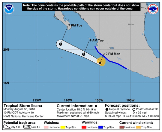 Projected path of Tropical Storm Ileana as of 11 p.m. Monday, Aug. 6, 2018.