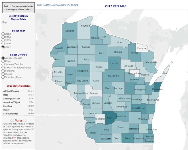 A map color coded to show the average rate of sex offenses per county. The darker the color, the higher rate. Available to view on the Wisconsin Department of Justice UCR Sex Offense Data page.