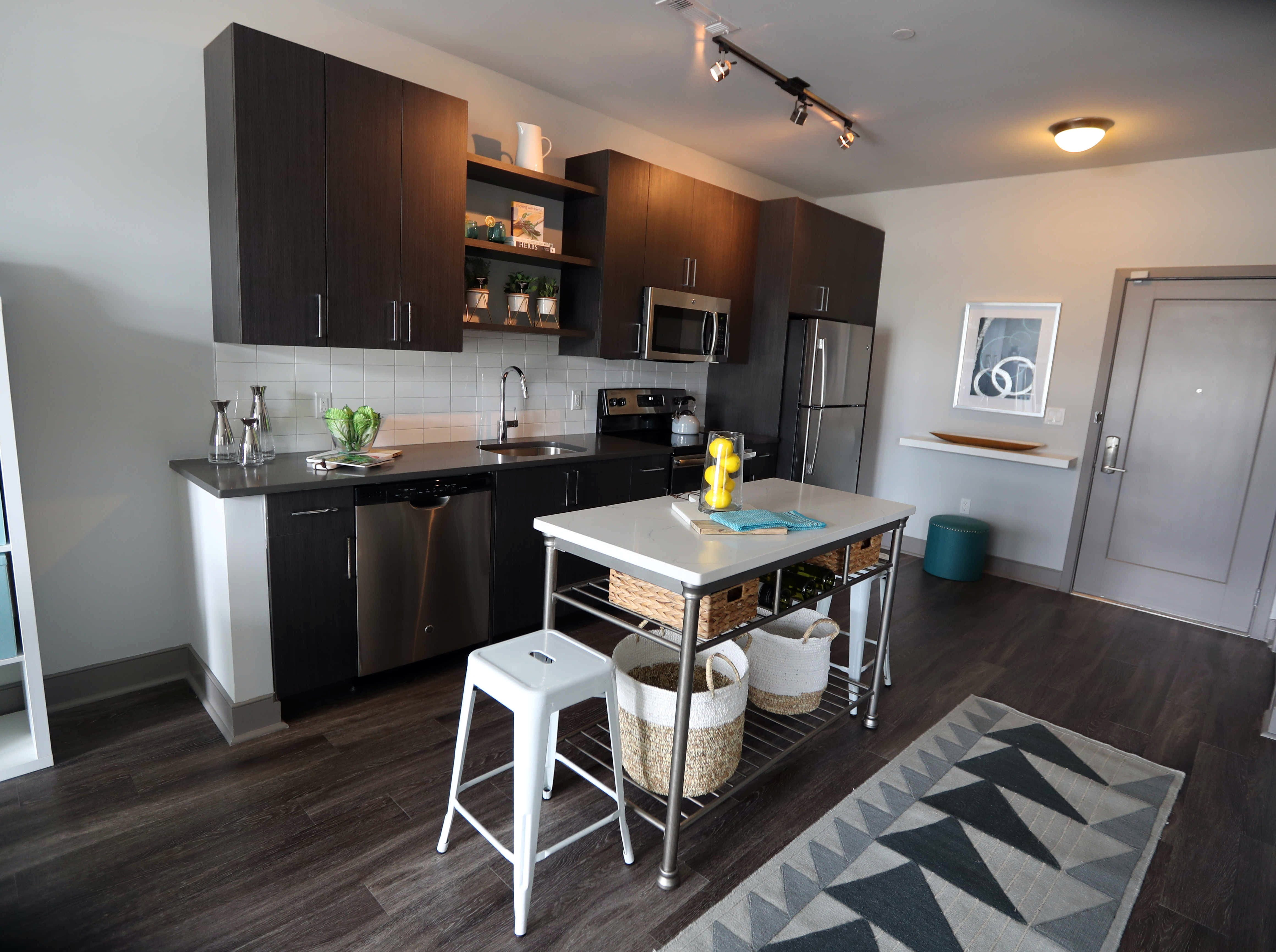 The kitchen of a one-bedroom apartment at the Modera, a new luxury apartment building on the Yonkers riverfront Aug. 1, 2018. The Modera, which opened in January, will have over three-hundred studio, one-bedroom, and two-bedroom apartments when all when the building is totally completed.