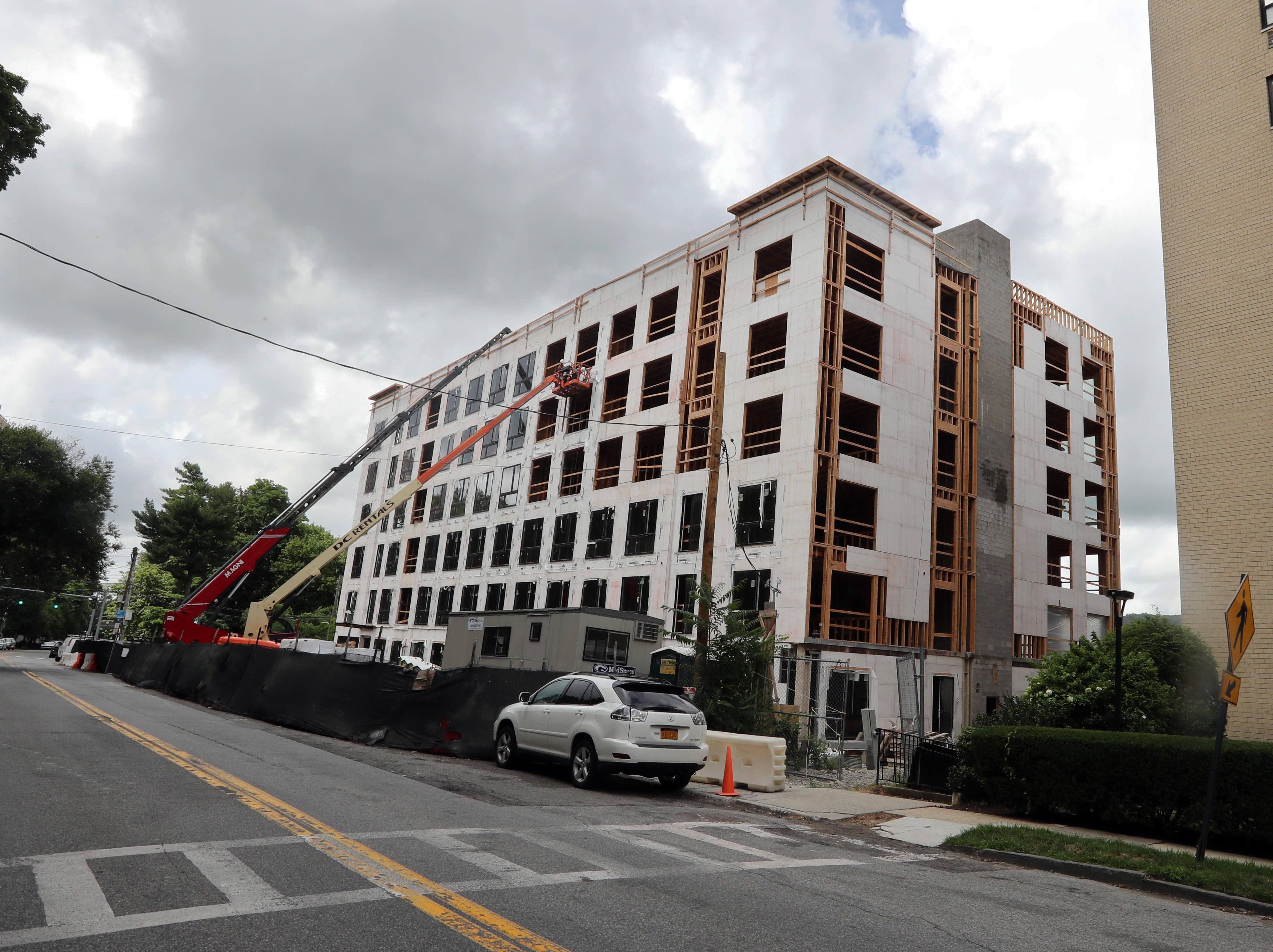 A new apartment building being constructed at 1073 Warburton Ave. in Yonkers, photographed July 24, 2018.