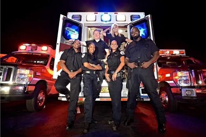 (Top row) Yonkers Empress Paramedic Patrick Swift, Paramedic Ariel Miklat Bottom Row:  EMT Jamal Spann, EMT Danelle Dryden, Lieutenant Alex Roehner, EMT Jamiel Cunningham