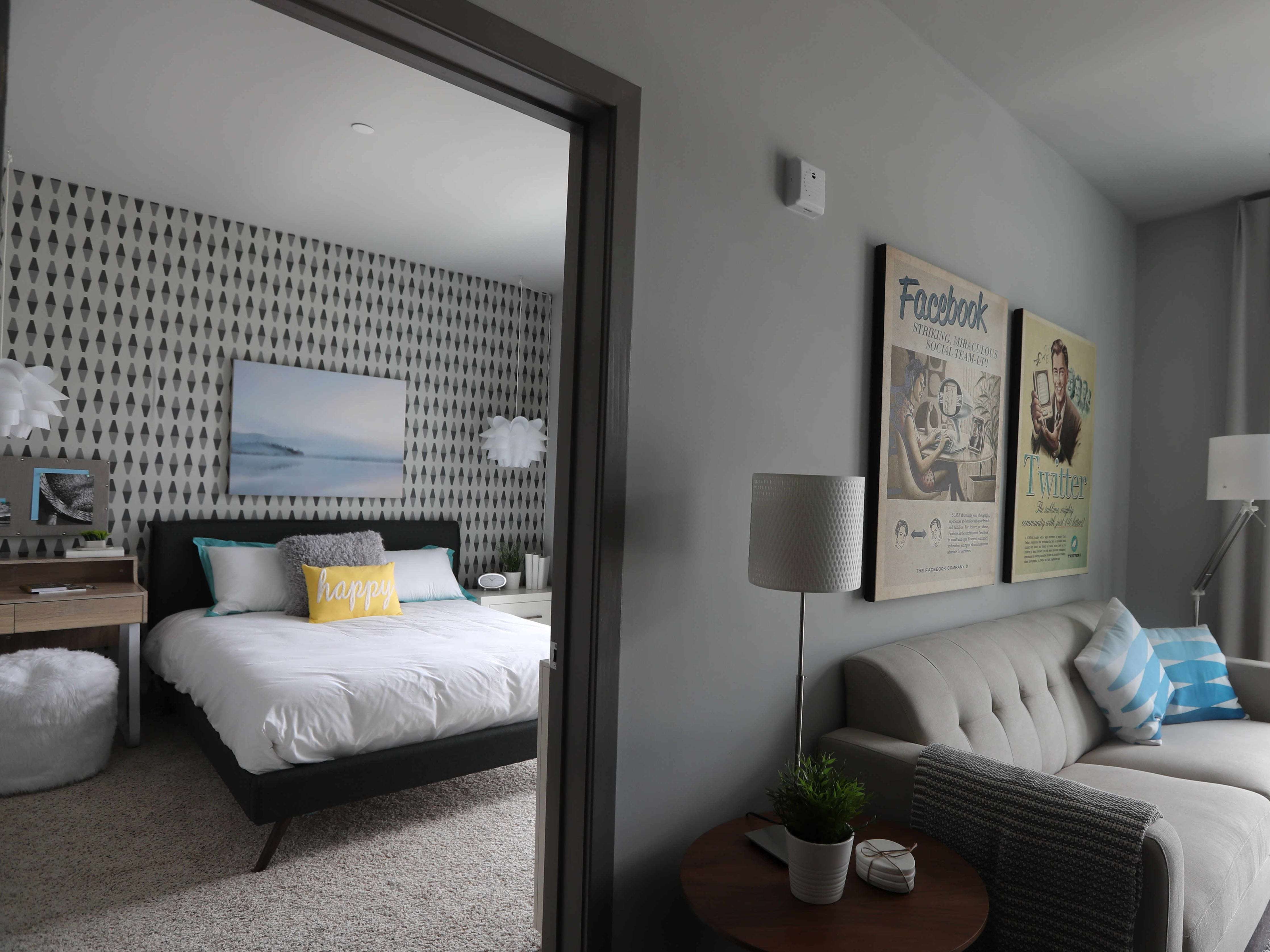 The bedroom and living room of a one-bedroom apartment at the Modera, a new luxury apartment building on the Yonkers riverfront Aug. 1, 2018. The Modera, which opened in January, will have over three-hundred studio, one-bedroom, and two-bedroom apartments when all when the building is totally completed.