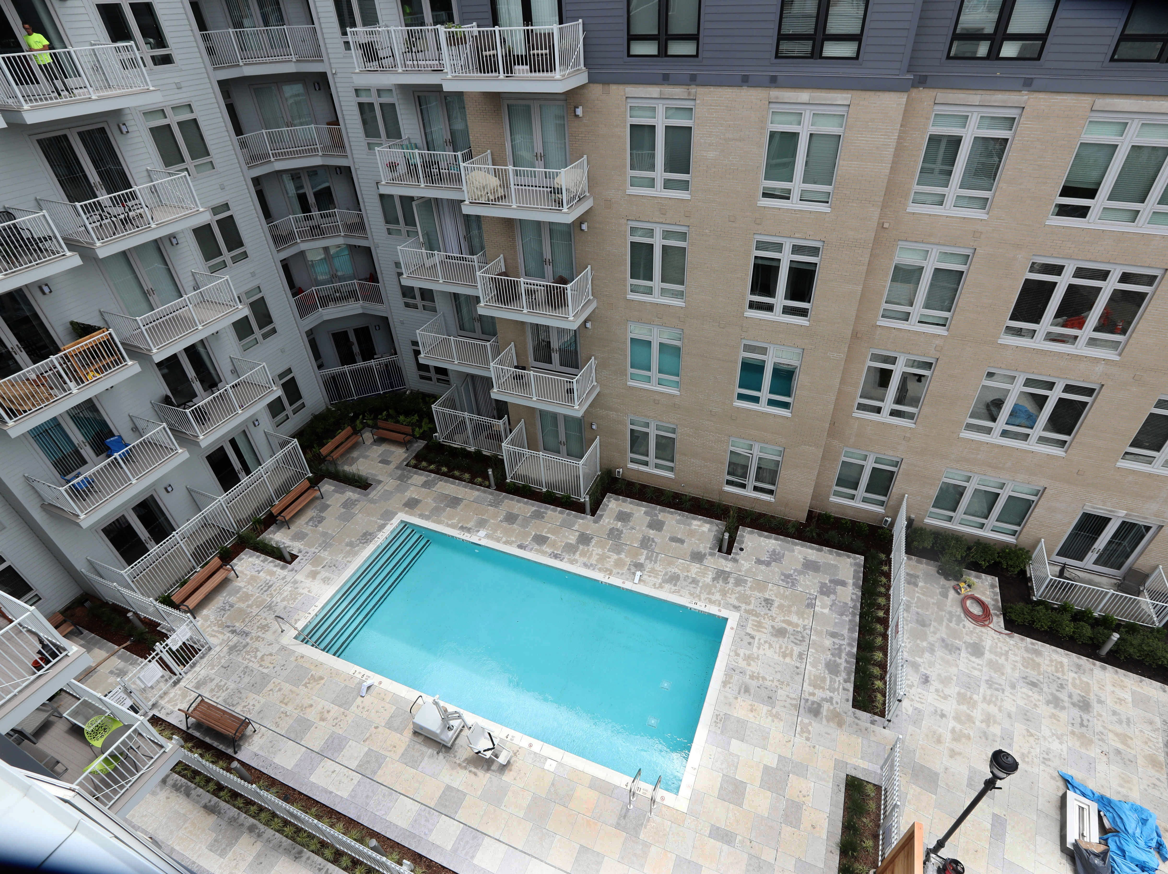 The new swimming pool at the Modera, a new luxury apartment building on the Yonkers riverfront Aug. 1, 2018. The Modera, which opened in January, will have over three-hundred studio, one-bedroom, and two-bedroom apartments when all when the building is totally completed.