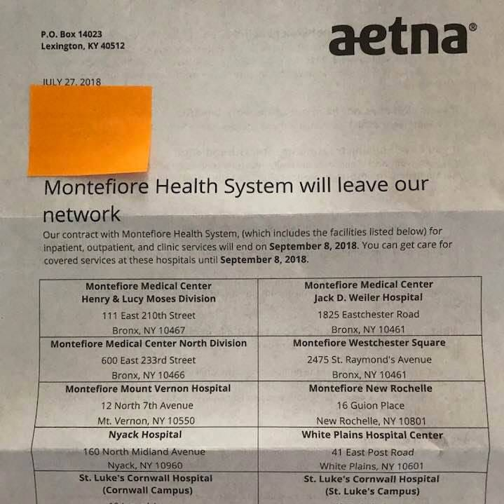 Aetna needs to support health care in the Hudson Valley and reach a deal with Montefiore