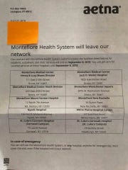 Aetna letter about Montefiore Health System leaving network