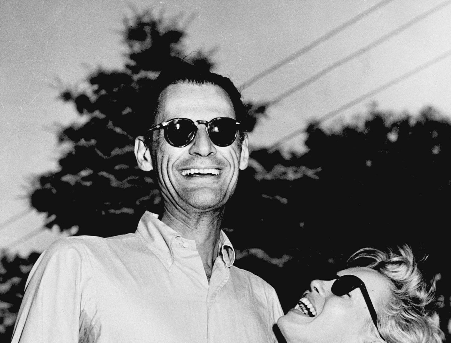 UNITED STATES:  Picture dated 27 June 1956, in Connecticut showing American writer Arthur Miller and actress Marilyn Monroe few days before they get married. (Photo credit should read AFP/AFP/Getty Images)
