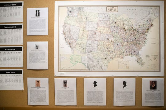 A board with pins marking the hometowns of identified U.S. servicemen through analyzing DNA and human remains by the Department of Defense DNA Operations for the Armed Forces Medical Examiner System. The board is a reminder of the amount of successful cases the lab produces.