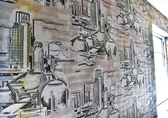 Custom wallpaper in a former oil company headquarters in Big Blue harkens back to the 1960s. Renovations are underway for the new offices of Workforce Solutions North Texas.