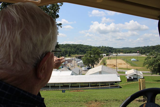 Darrel Cubbison overlooks the fairgrounds as the board prepares for the 2018 Muskingum County Fair.