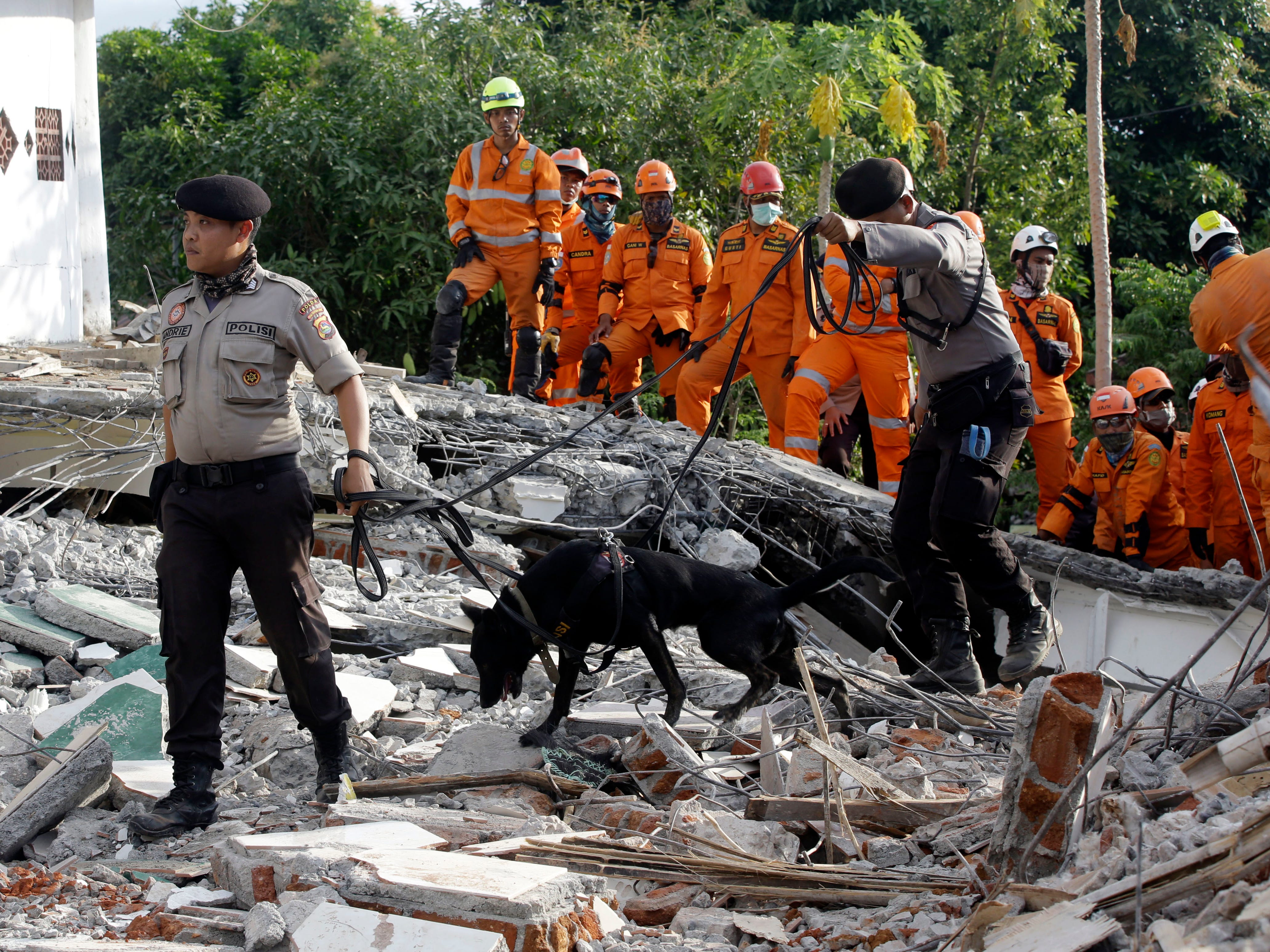 Rescuers with sniffer dogs search for victims at a mosque damaged by an earthquake in North Lombok, Indonesia, Tuesday, Aug. 7, 2018. Thousands of people left homeless sheltered Monday night in makeshift tents following a powerful quake that ruptured roads and flattened buildings on the Indonesian tourist island of Lombok, as authorities said rescuers hadn't yet reached all devastated areas.