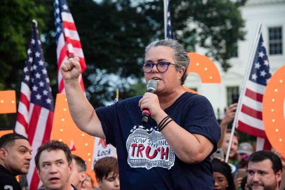 Comedian Rosie O'Donnell addresses a protest against President Donald Trump in front of the White House on Monday night.