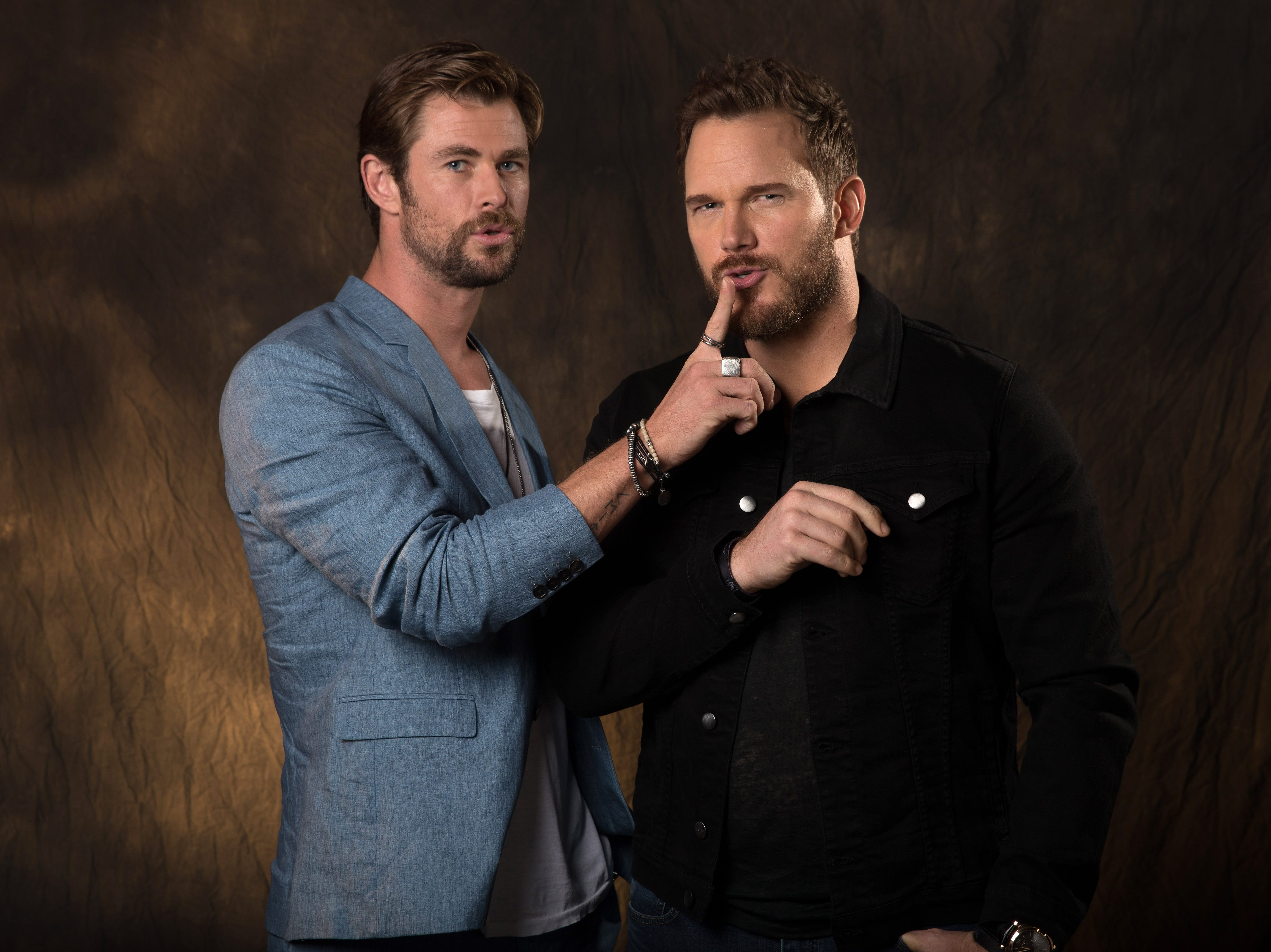 4/22/18 4:36:11 PM -- Beverly Hills, CA  --  Chris Hemsworth and Chris Pratt pose for a portrait at the Montage Hotel in Beverly Hills, CA while promoting Avengers- Infinity War.