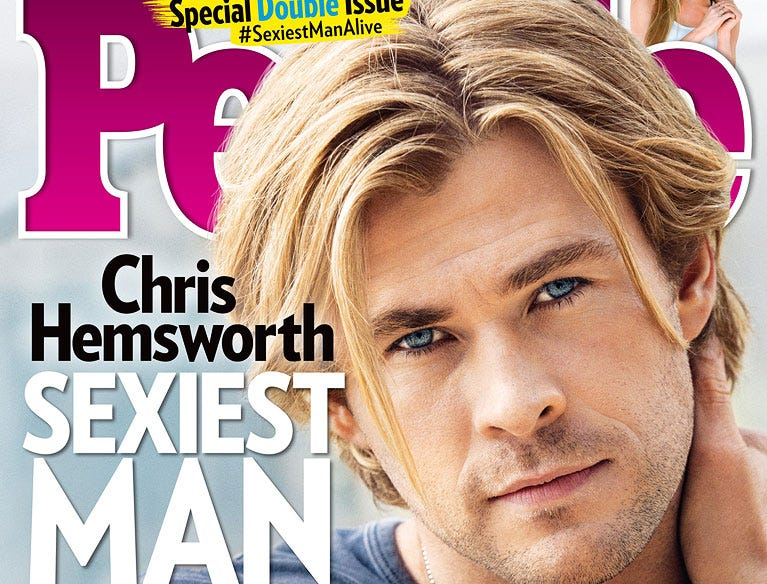 "Chris Hemsworth is declared by ""People Magazine"" the  2014 Sexiest Man Alive on their cover.  HANDOUT CREDIT: PEOPLE [Via MerlinFTP Drop]"
