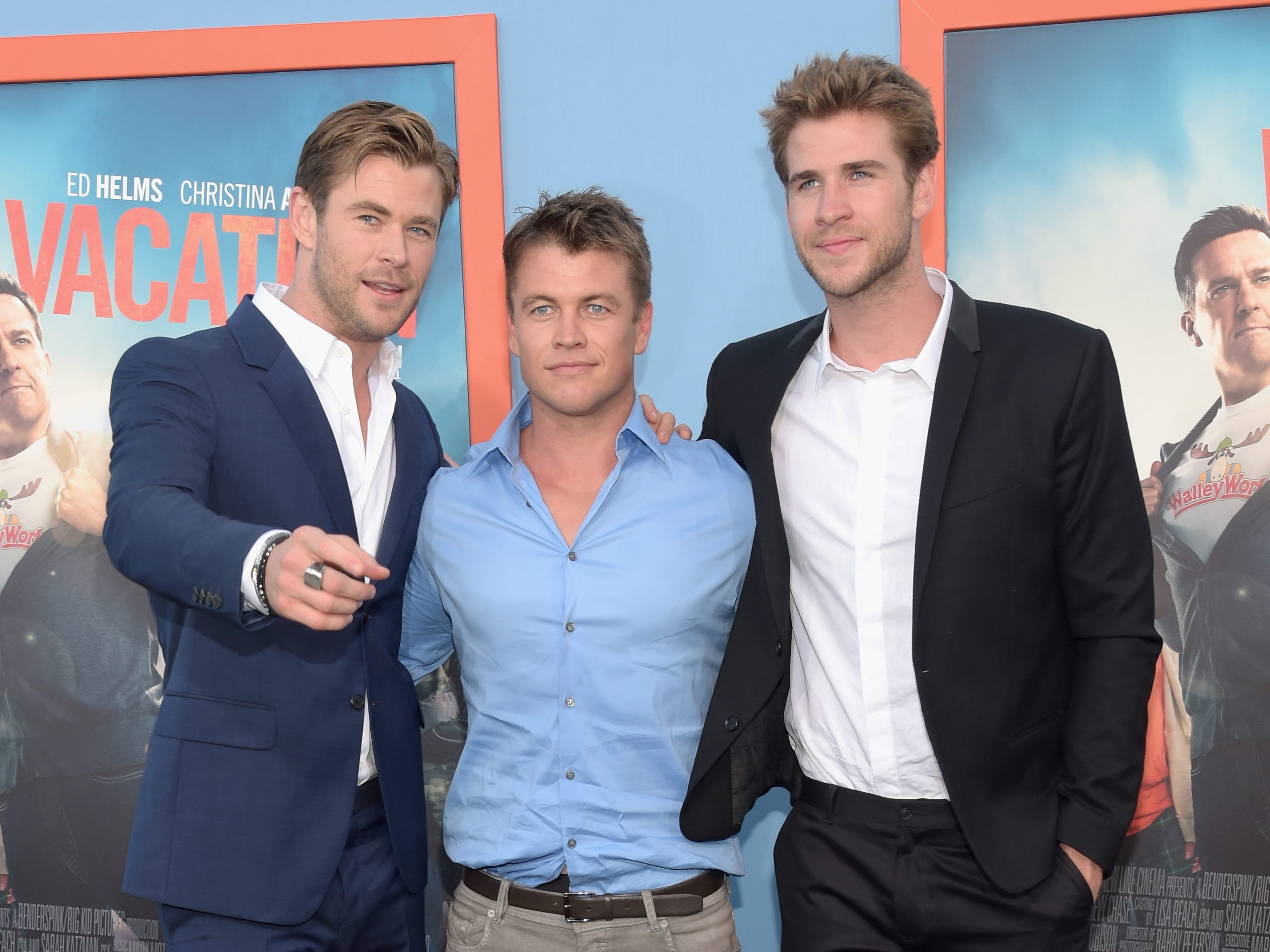 "WESTWOOD, CA - JULY 27:  (L-R) Actors Chris Hemsworth, Luke Hemsworth and Liam Hemsworth attend the premiere of Warner Bros. ""Vacation"" at Regency Village Theatre on July 27, 2015 in Westwood, California.  (Photo by Jason Kempin/Getty Images) ORG XMIT: 565893013 ORIG FILE ID: 482164338"