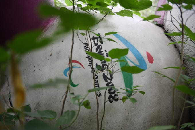 This photo taken on July 20, 2018, shows Fu Niu Lele, the mascot for the 2008 Beijing Paralympic Games, lying among trees behind an abandoned, never-completed mall. A decade after Beijing hosted the 2008 Olympics, its legacy remains unmistakable from the smallest alleyways in the Chinese capital to the country's growing clout abroad. For better or worse, the Games changed the face of Beijing. But many of the venues built for the Games have fallen into disrepair.