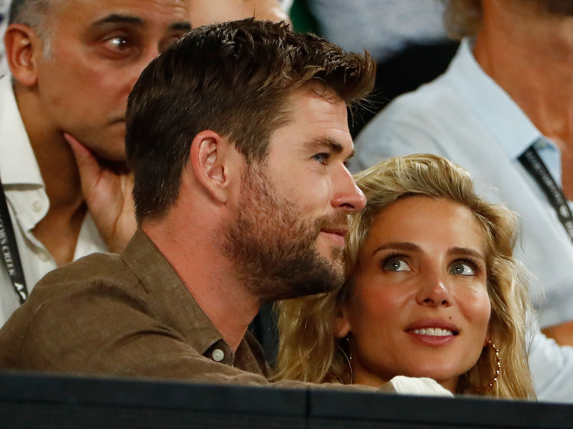 "Chris Hemsworth and his wife Elsa Pataky celebrated the ""Thor"" star's 35th birthday with their children Saturday."
