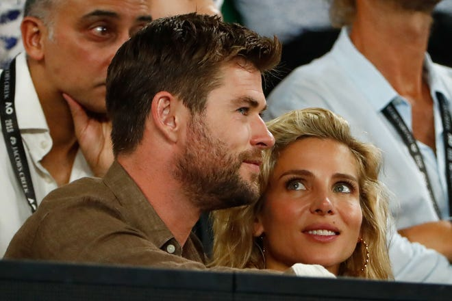 """Chris Hemsworth and his wife Elsa Pataky celebrated the """"Thor"""" star's 35th birthday with their children Saturday."""