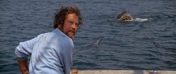 "Richard Dreyfuss is an oceanographer dealing with a toothy menace in the original ""Jaws."""