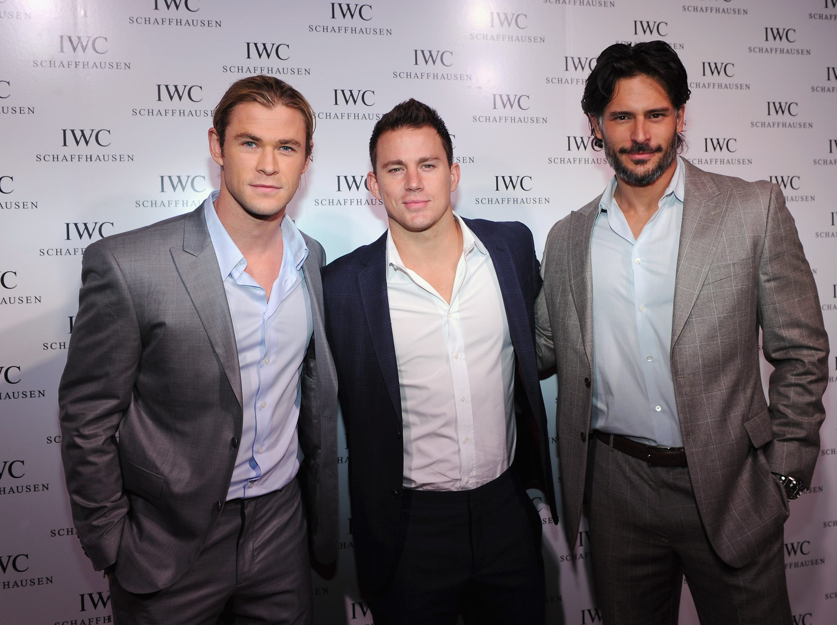 ORG XMIT: 143455482 NEW YORK, NY - APRIL 25:  (L-R) Actors Chris Hemsworth, Channing Tatum and Joe Manganiello attend the IWC Flagship Boutique New York City Grand Opening at IWC Boutique on April 25, 2012 in New York City.  (Photo by Larry Busacca/Getty Images for IWC) ORIG FILE ID: 143400155