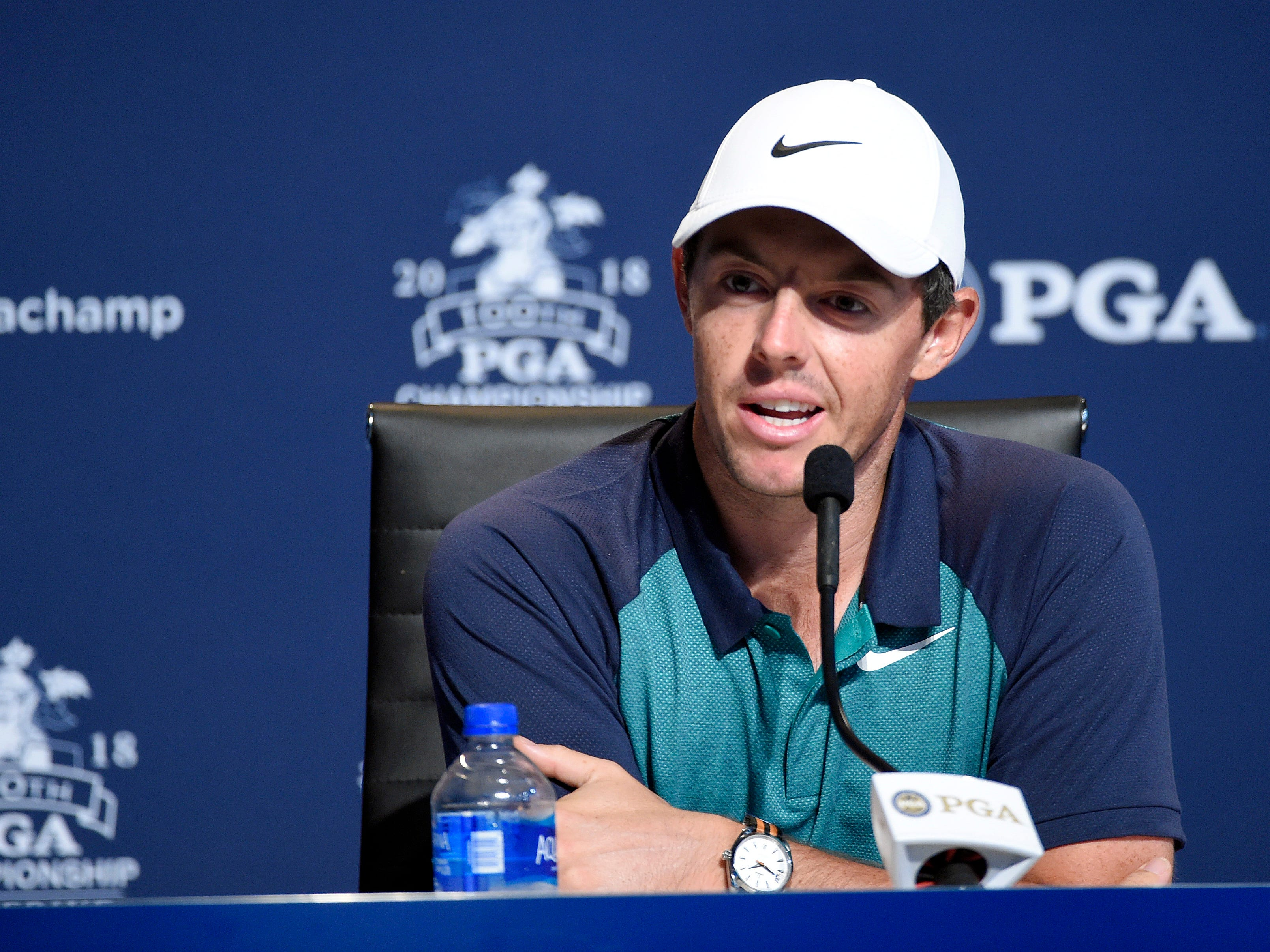 Rory McIlroy addresses the media during a news conference.