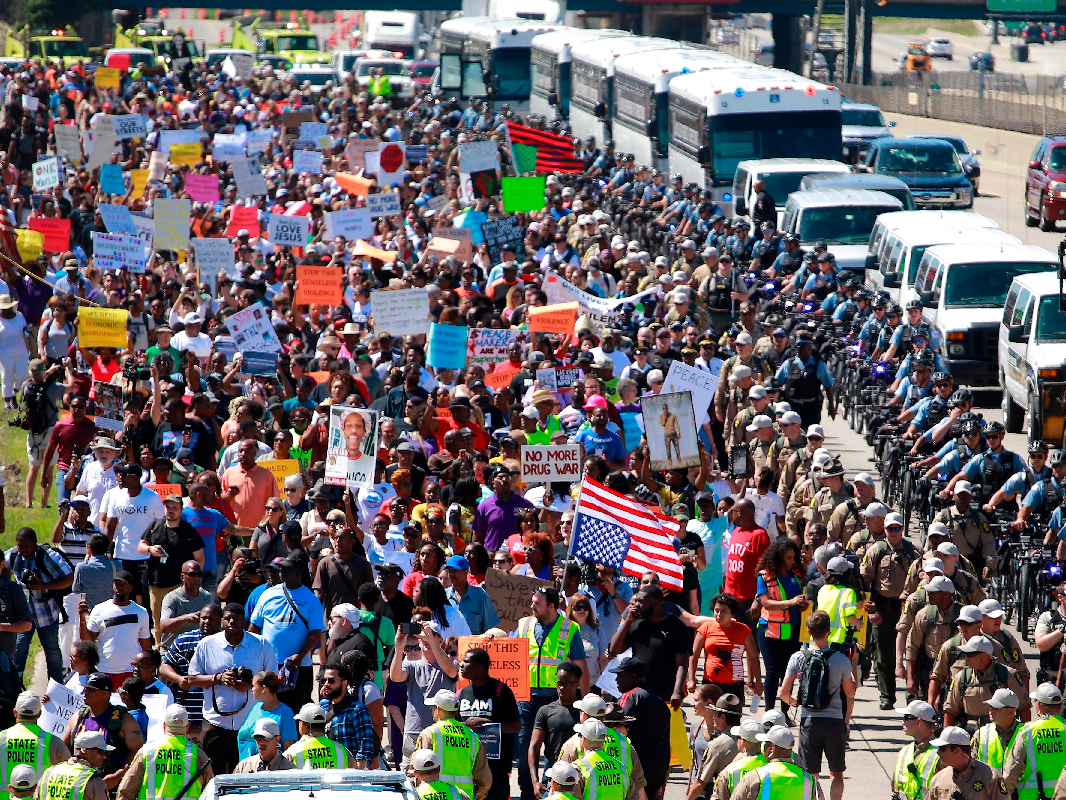 Protestors shut down the Dan Ryan Expressway during an anti-violence protest calling for common sense gun laws, July 7, 2018 in Chicago.