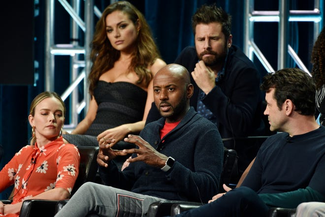 Romany Malco, center front, speaks Tuesday during a Television Critics Association panel for ABC's 'A Million Little Things.' He is joined by fellow cast members  Allison Miller, left, Christina Ochoa, James Roday and Ron Livingston.