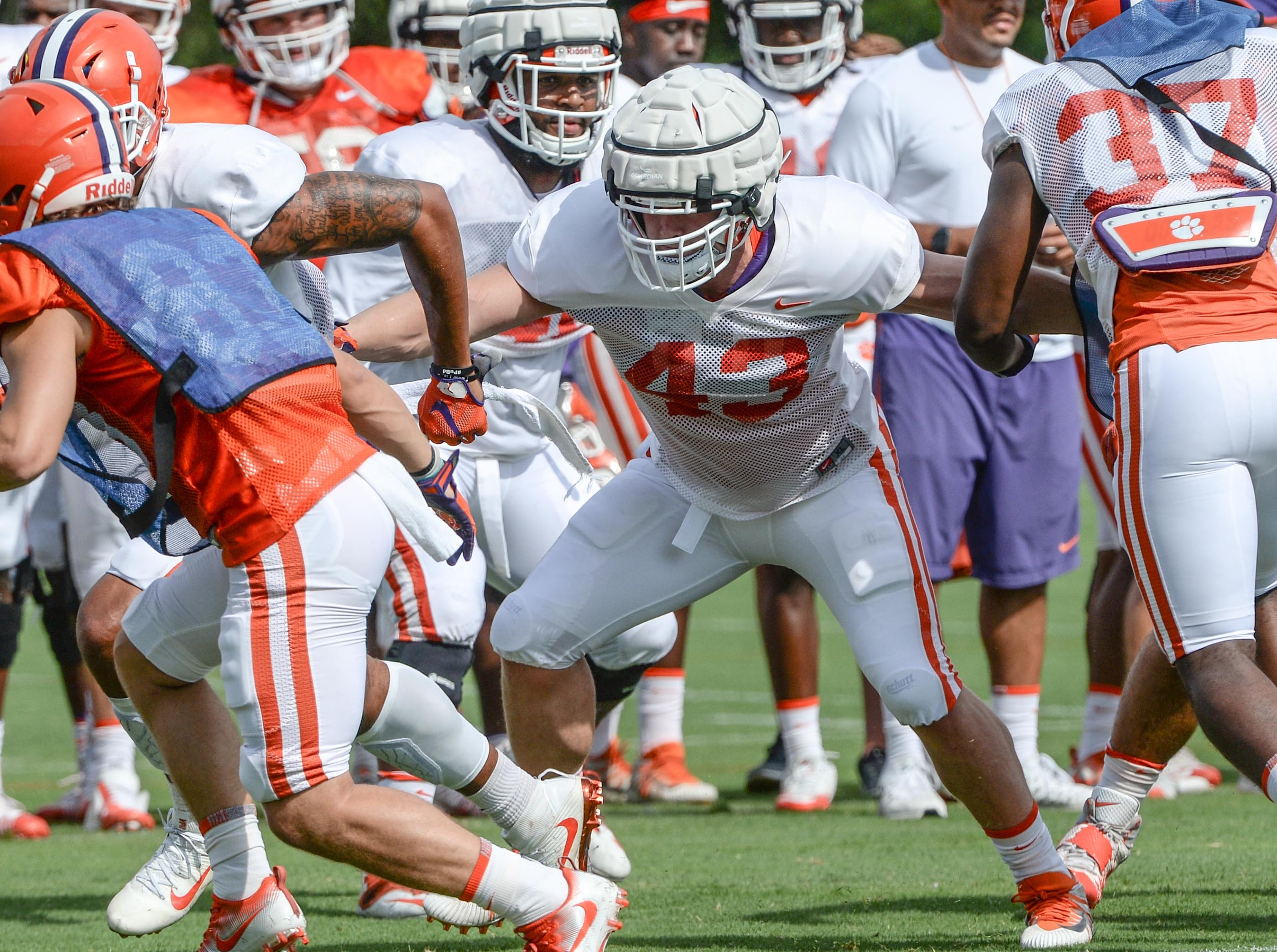 Clemson linebacker Chad Smith (43) during fall practice in Clemson on Wednesday.