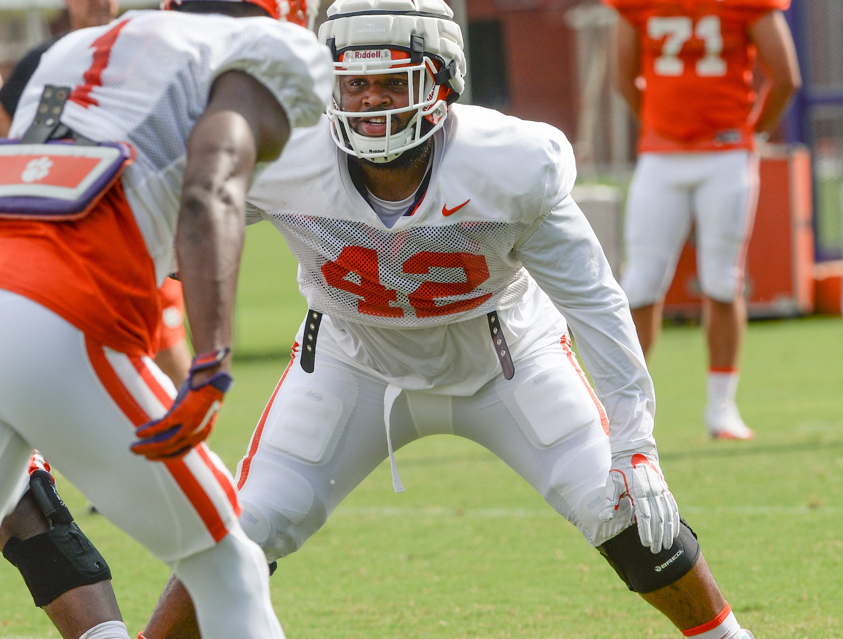 Clemson defensive lineman Christian Wilkins (42) during fall practice in Clemson on Wednesday.