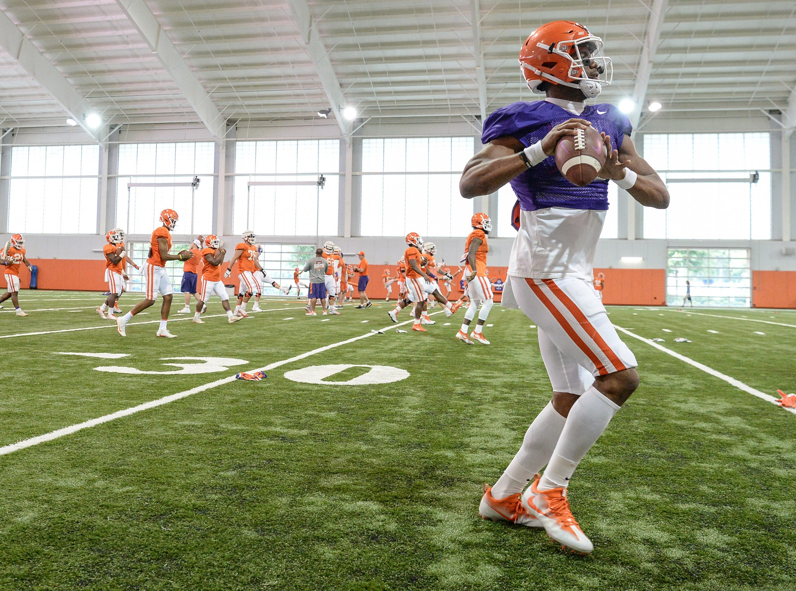 Clemson quarterback Kelly Bryant (2) throws during fall practice in Clemson on Wednesday.