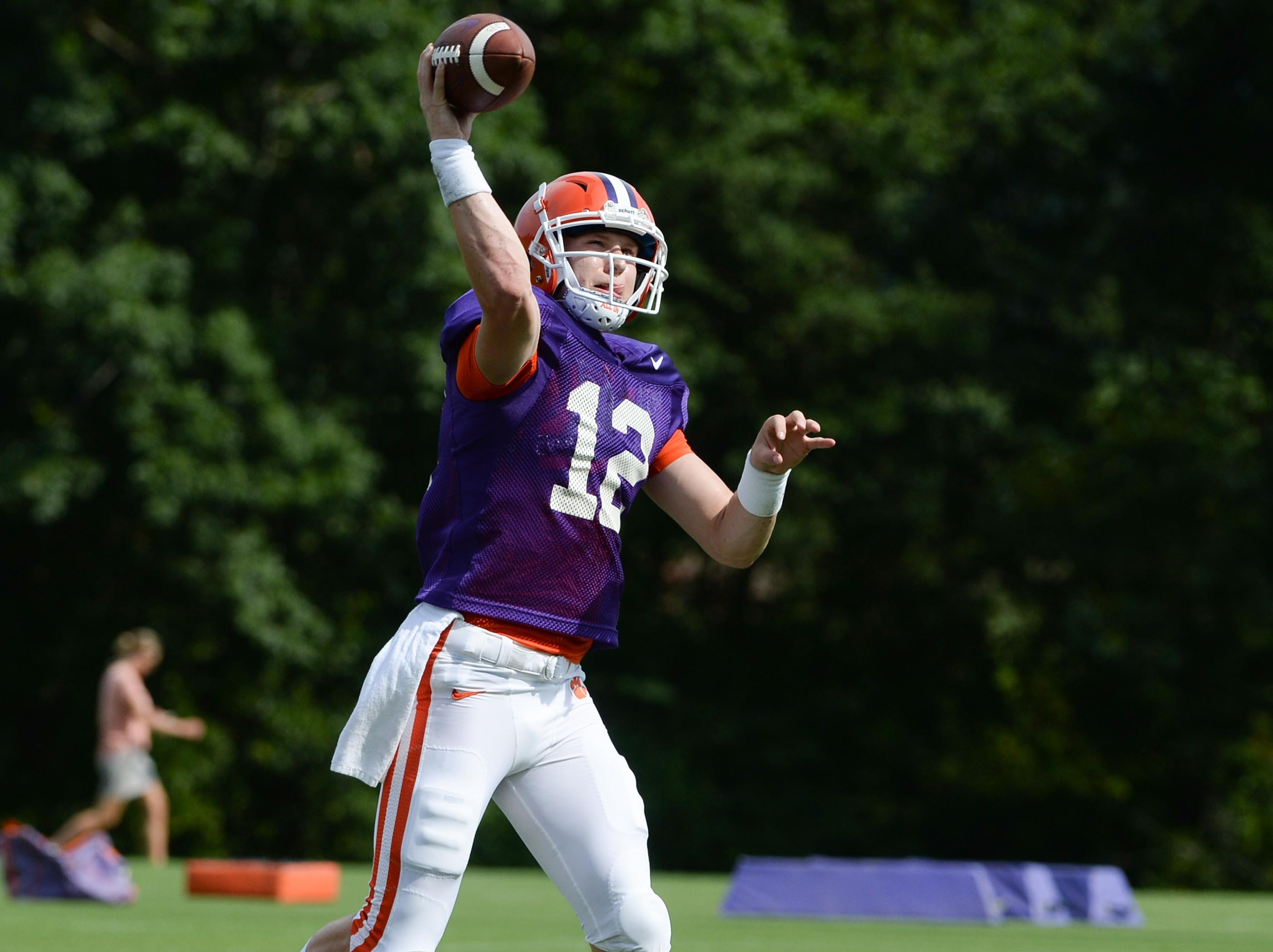 Clemson Ben Batson throws during fall practice in Clemson on Wednesday.