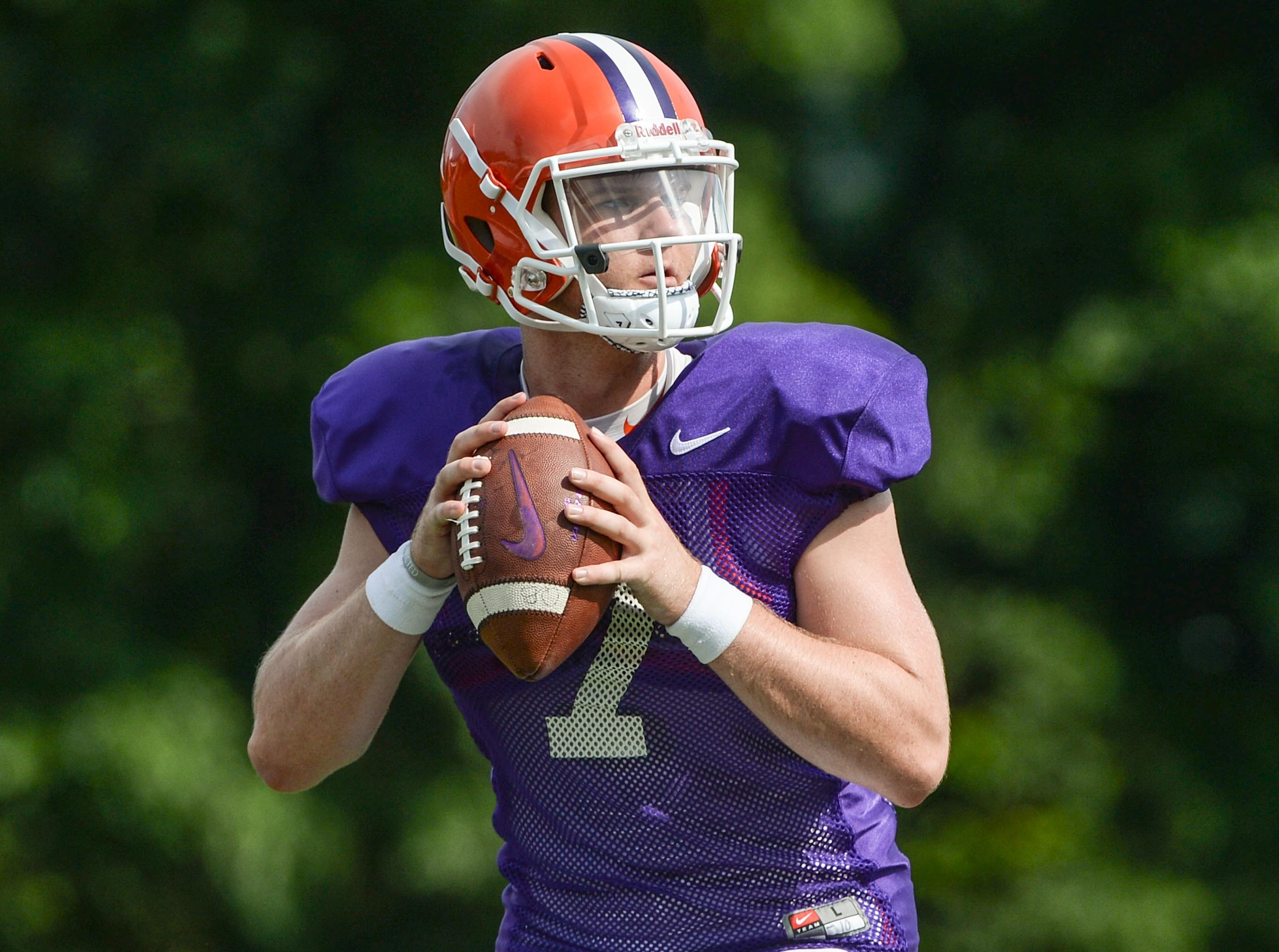 Clemson quarterback Chase Brice (7) during fall practice in Clemson on Wednesday.