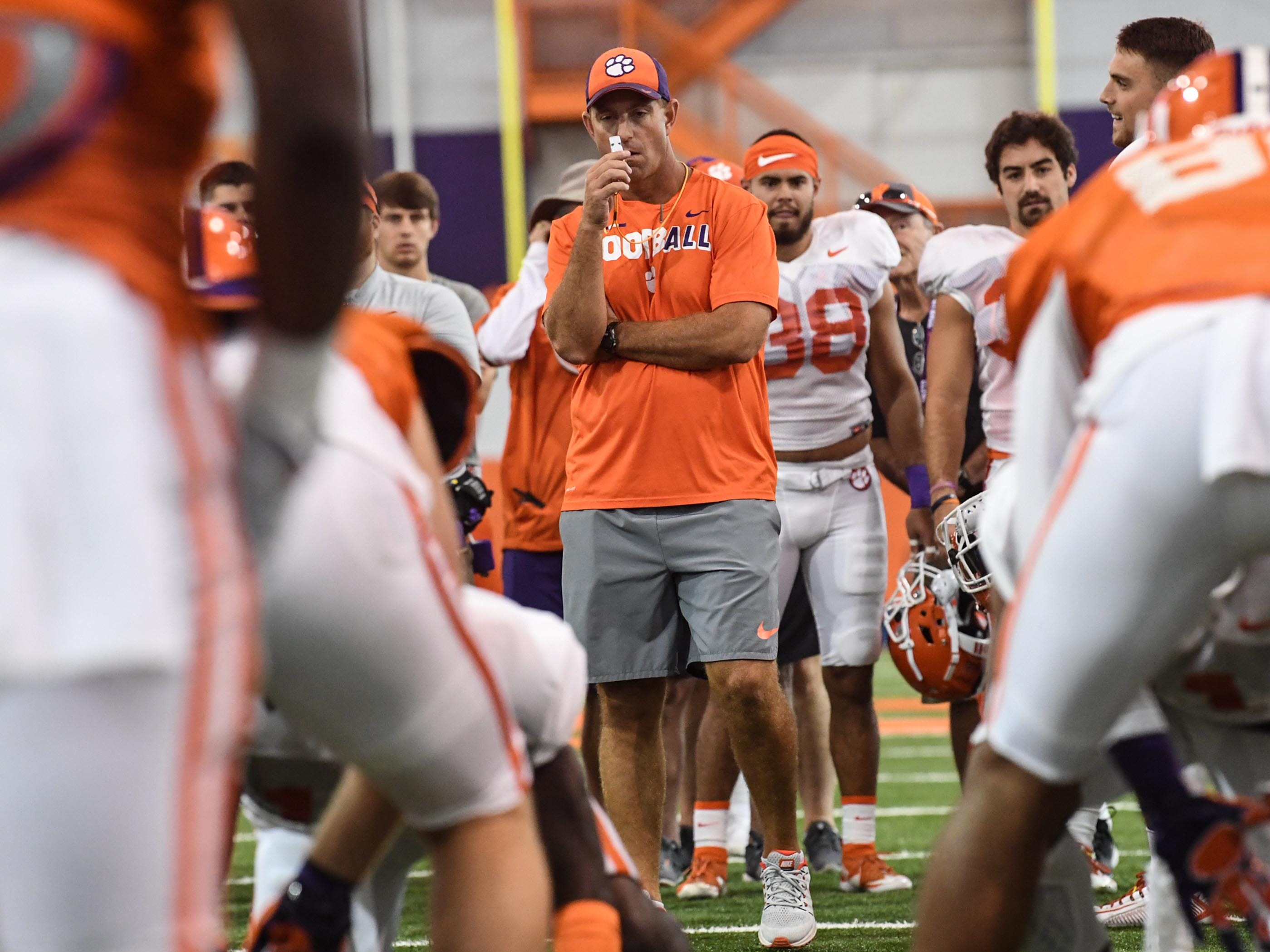 Clemson head coach Dabo Swinney during fall practice in Clemson on Wednesday.