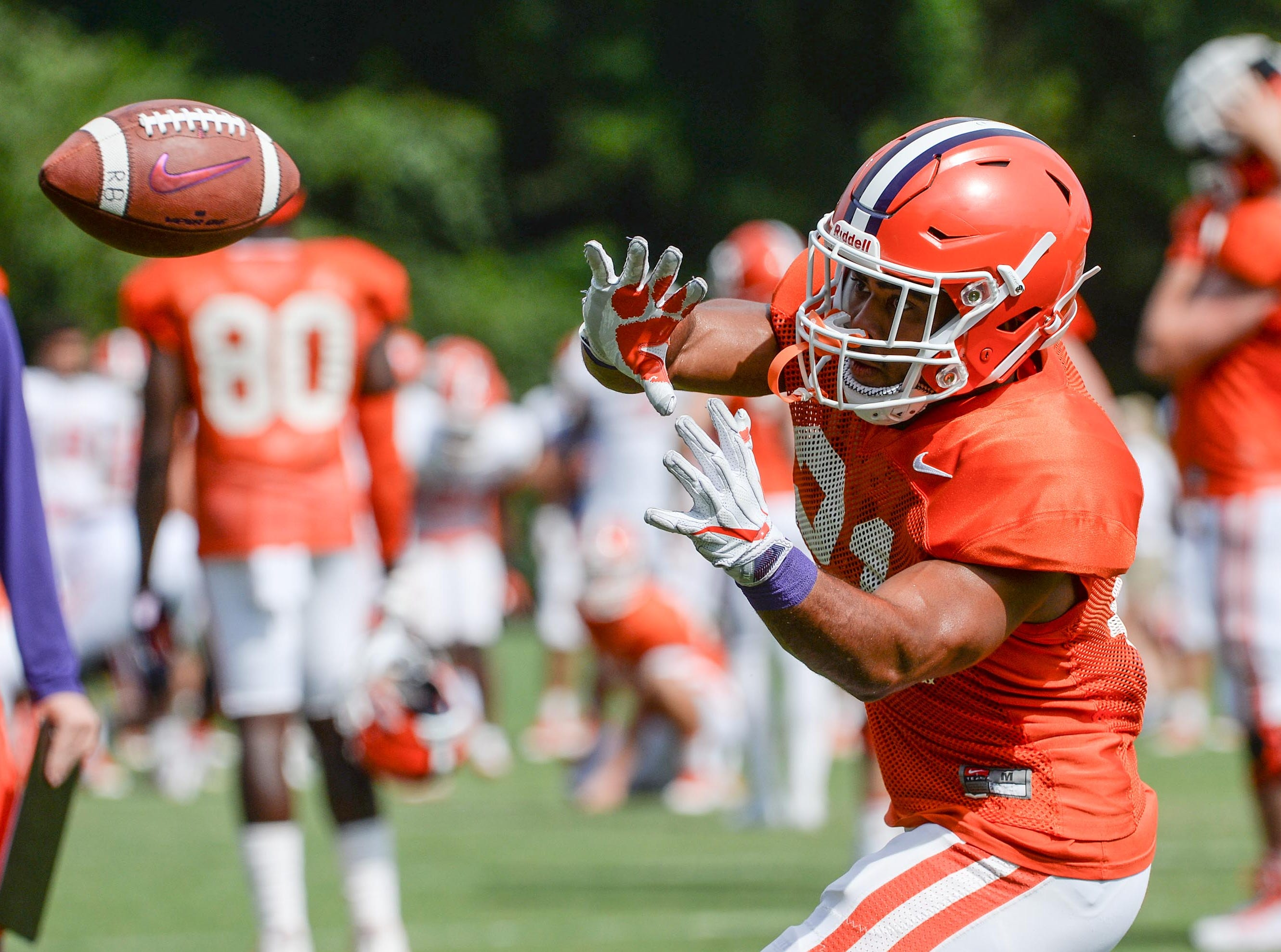 Clemson running back Darien Rencher (21) during fall practice in Clemson on Wednesday.