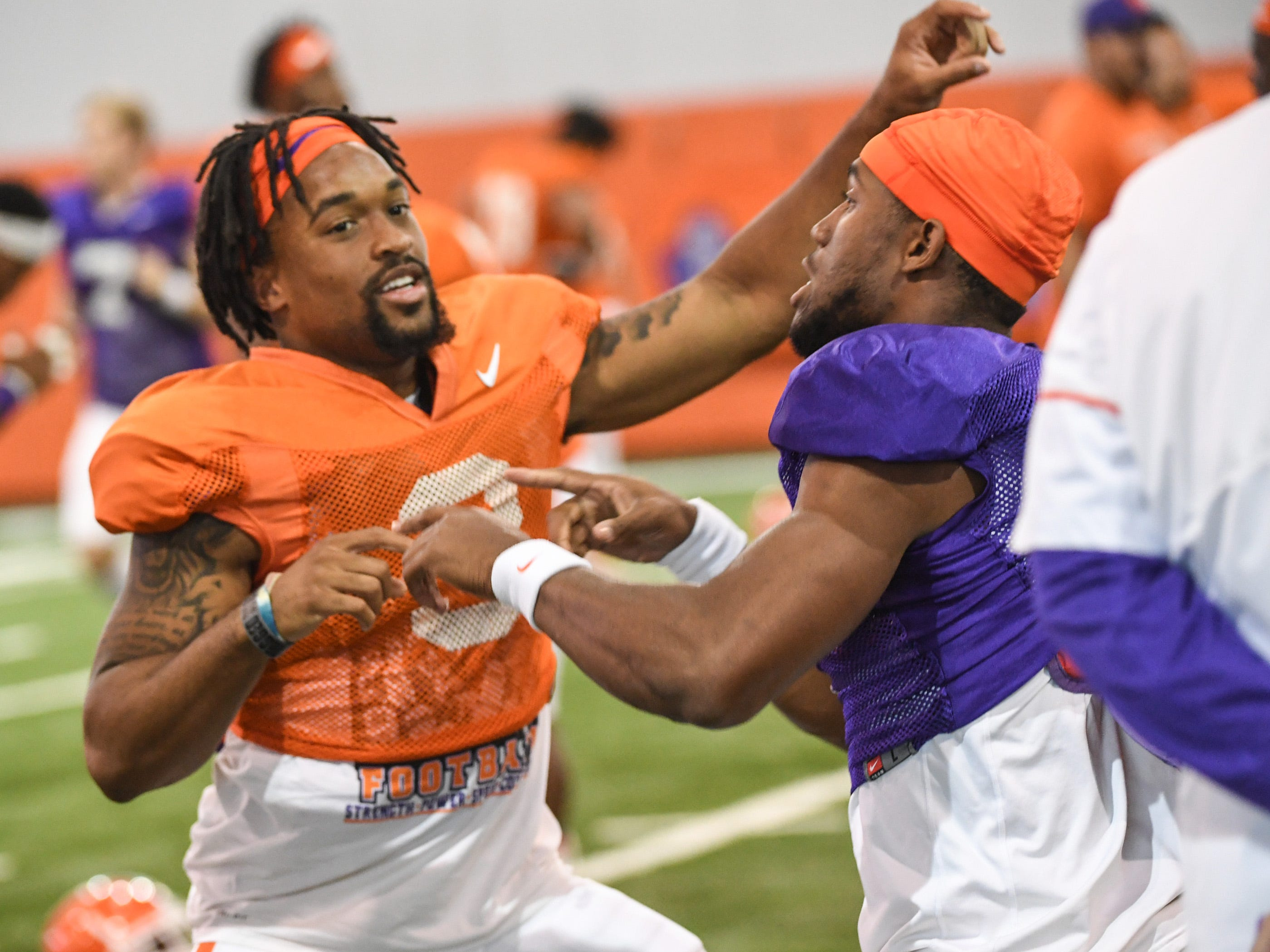 Clemson wide receiver Amari Rodgers (3) and quarterback Kelly Bryant (2) during fall practice in Clemson on Wednesday.