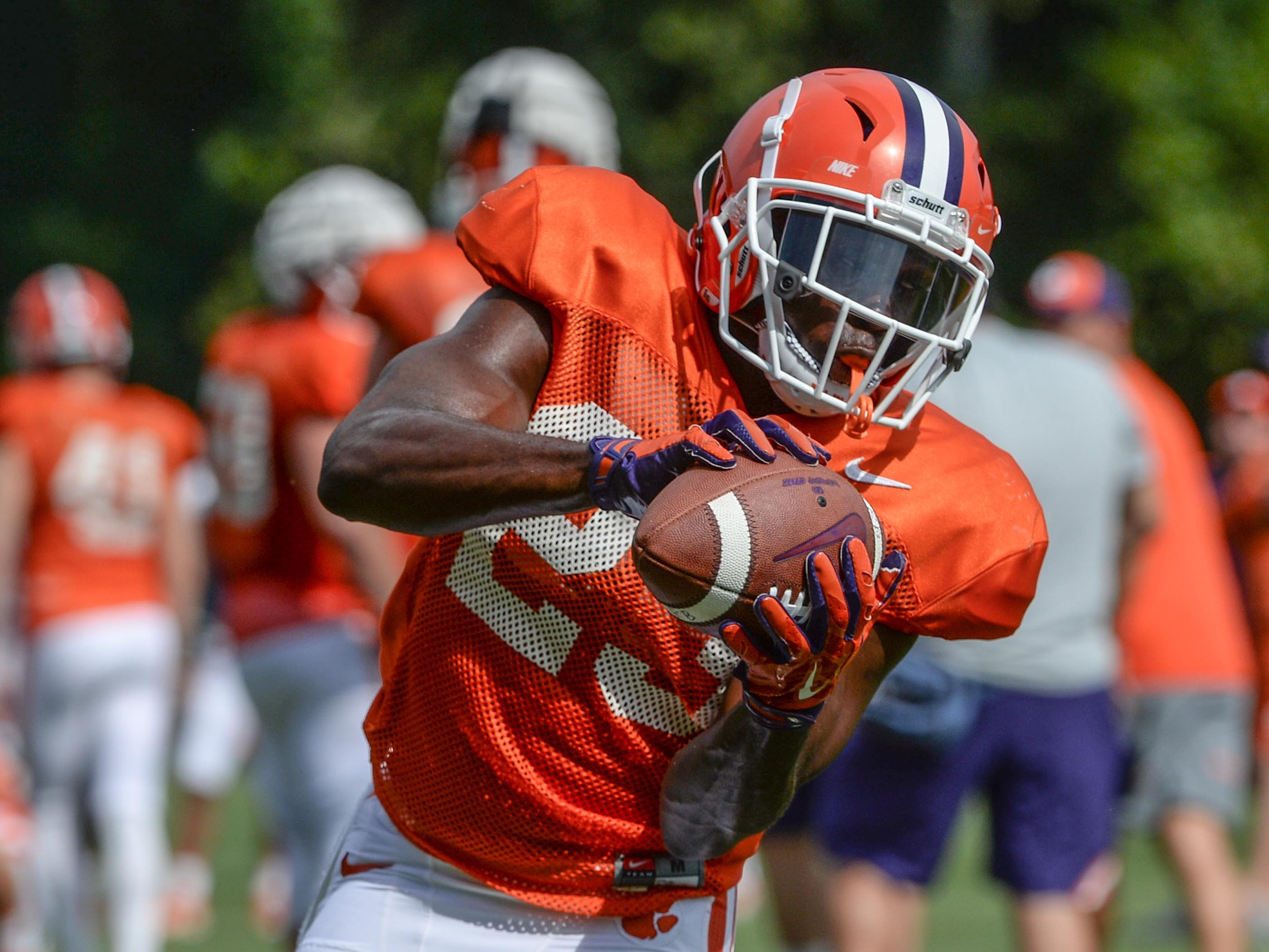 Clemson running back Lyn-J Dixon (23) during fall practice in Clemson on Wednesday.