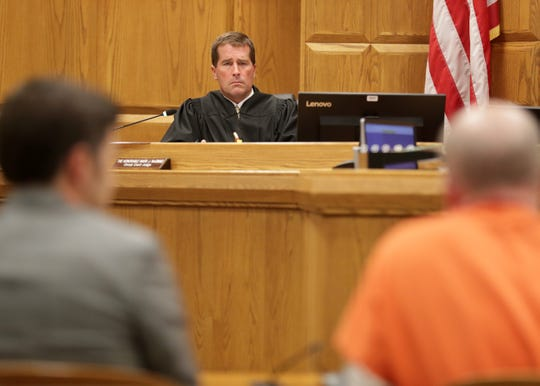 Outagamie County Circuit Court Judge Mark McGinnis sentences Joseph M. Konetzke, 57, to 20 years in prison followed by 10 years of extended supervision during a sentencing hearing in Outagamie County court on Wednesday. Konetzke was convicted in a drunken driving crash that killed David Rosol, 82, and Hazel DeWitt, 83, both of La Grange Park, Illinois, about a week before Christmas last year.