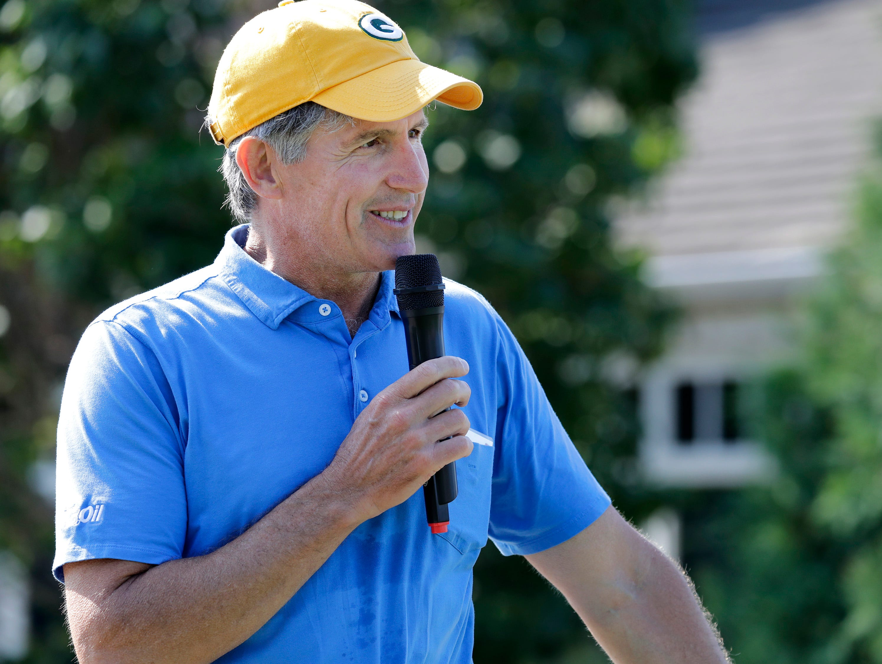 John Schmidt, president and CEO of U.S. Venture speaks before the start of the U.S. Venture Open Wednesday, Aug. 8, 2018, at North Shore Golf Club in Menasha, Wis.