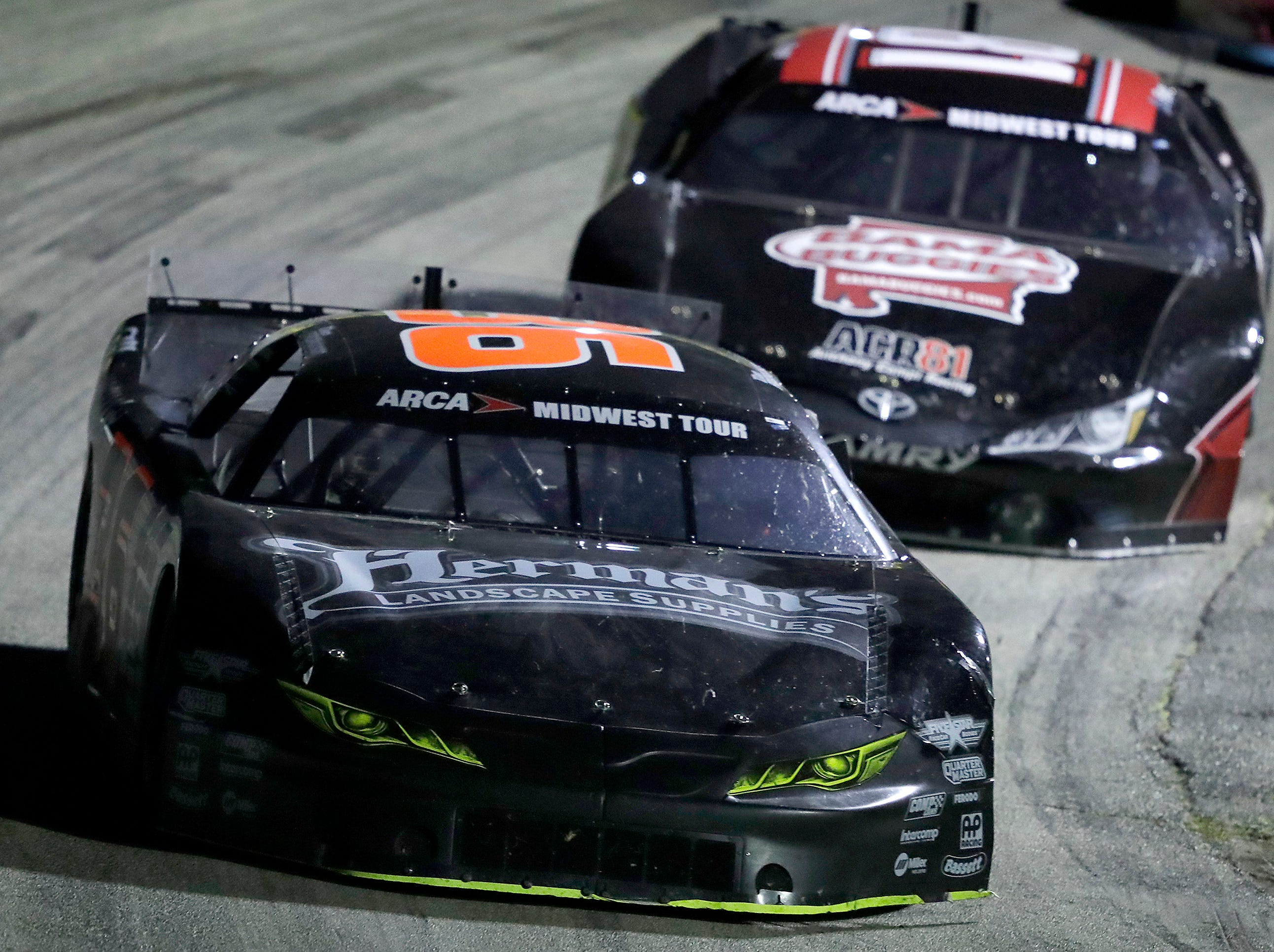Dan Fredrickson #36 holds a lead over Chase Purdy #81  during the ARCA Dixieland 250 on Tuesday, August 7, 2018, at Wisconsin International Raceway in Kaukauna, Wis. 