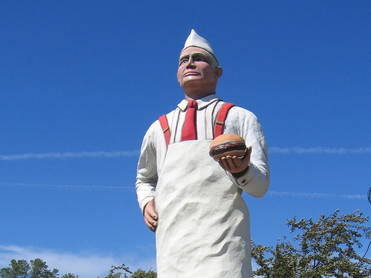 """Hamburger Charlie""  was unveiled in Seymour, Wisconsin on Saturday, Aug. 6, 2005 at thte 17th annual Burger Fest. The 14 ft tall statue is of Hamburger Charlie Nagreen, the originator of the hamburger. Seymour is ""Home of the Hamburger Post-Crescent photo by Bonnie Lutzewitz"
