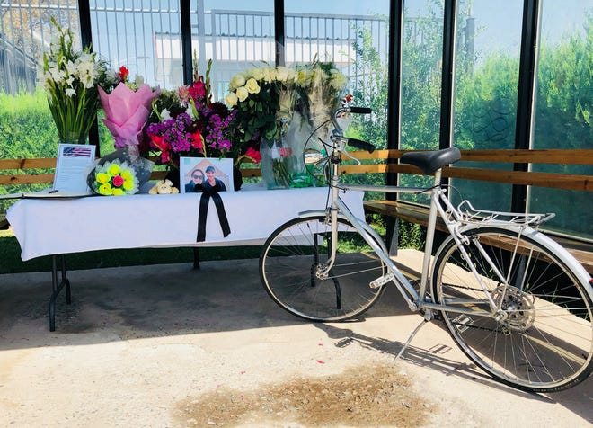 A memorial at the U.S. Embassy in Tajikistan was created after Manalapan native Jay Austin and Lauren Geoghegan were killed by ISIS militants in July.