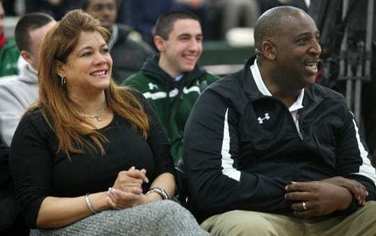 Karl Towns' parents Jacqueline Cruz Towns and Karl Towns Sr. watch as their son is awarded the Gatorade National Player of the Year, Thursday, March 27, 2014, at St. Joseph in Metuchen, NJ. Jason Towlen/Staff Photographer