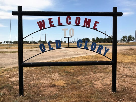 A sign on U.S. Highway 380 signals you are in Old Glory.