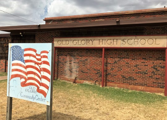 The Old Glory school was torn down in October. The sign was salvaged and stands in front of the community center, which used to be the school cafeteria.