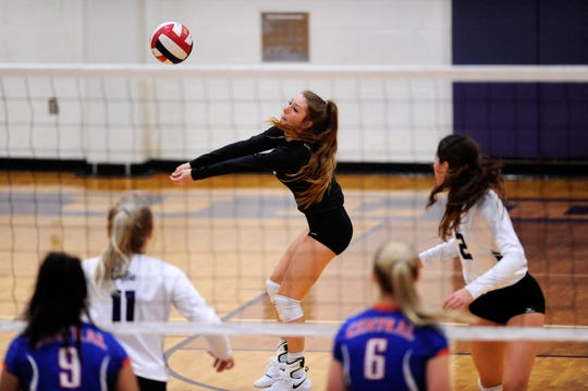 Wylie's Pierson Sanders (1) reacts to a serve during the team's home opener Wednesday. The Lady Bulldogs fell 3-0 against San Angelo Central.