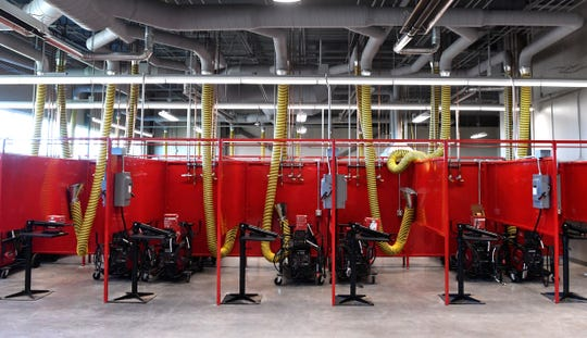 Some of the welding bays at the newly-built Texas State Technical College. The $12 million campus is located west of the Abilene Regional Airport.