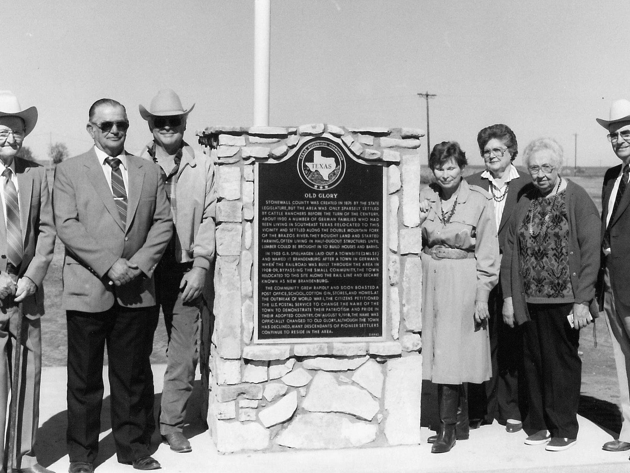 Among those who worked on a historical marker for Old Glory in 1990 were, from left, A.R. Sawyers, Stonewall County Judge Ed Wolsch, George Weiser, Beth Weiser, Hazel Letz, Bernice White and P.C. Carr.