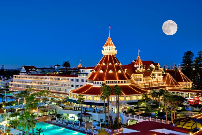 Moonlight shot at the Hotel del Coronado.  Federal prosecutors say former Buncombe staffers Wanda Greene and Jon Creighton traveled to San Diego with an engineer in exchange for county contracts. They stayed at the Hotel del in July 2016.