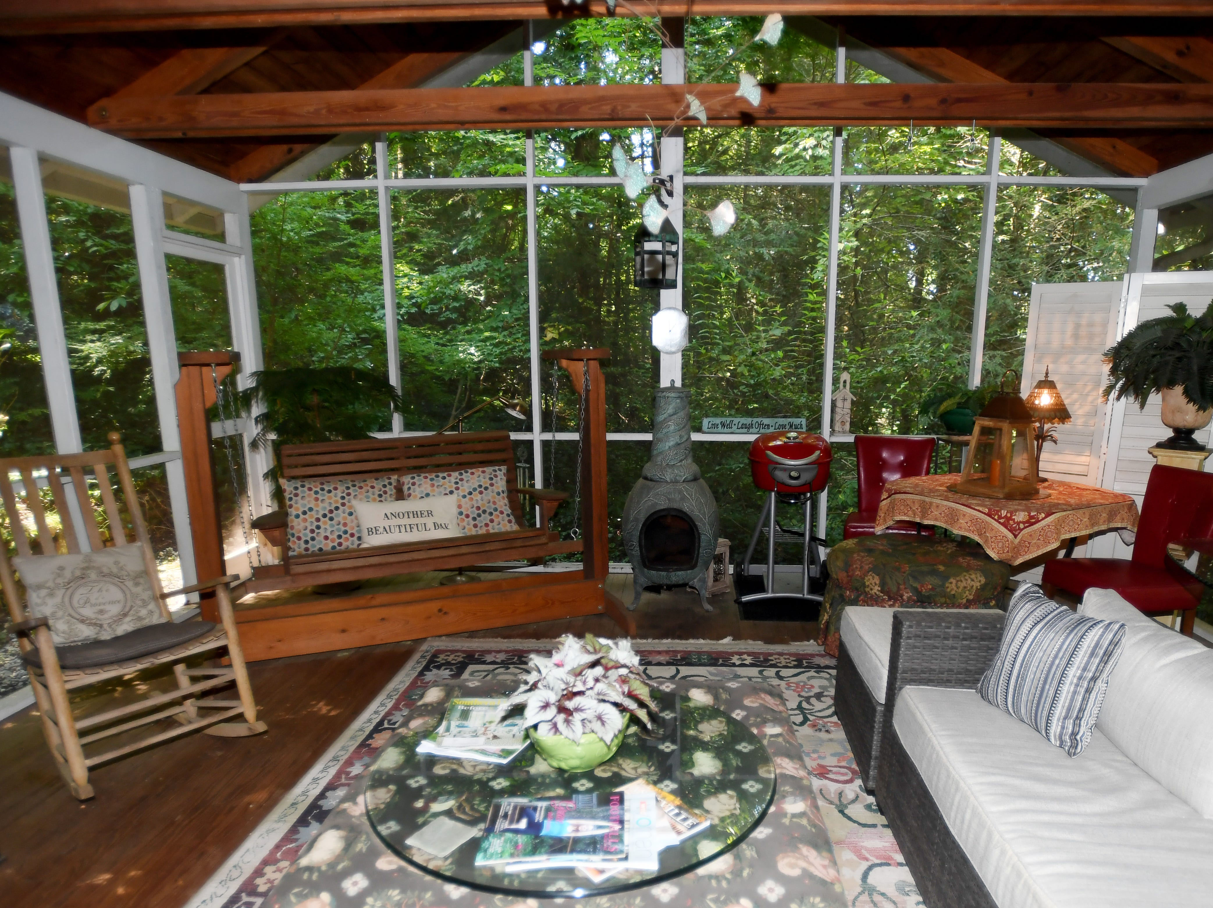 The sunroom in Rhonda Corley's cabin in Saluda.