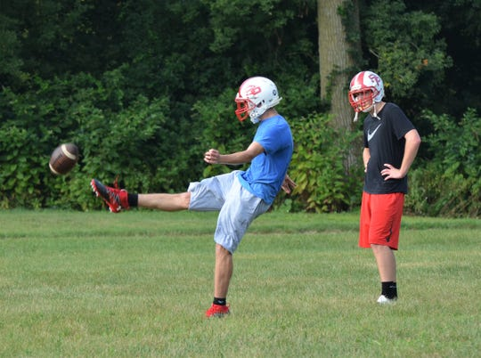 St. Philip players go through special team drills during a preseason practice earlier this week.