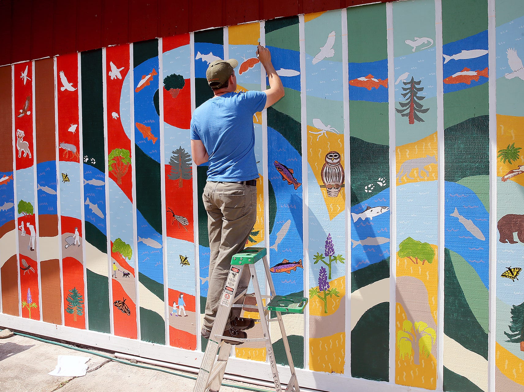 Mauro O' Neil of from the Kitsap County Storm Water Department paints on the nature mural on Wednesday August 8, 2018.